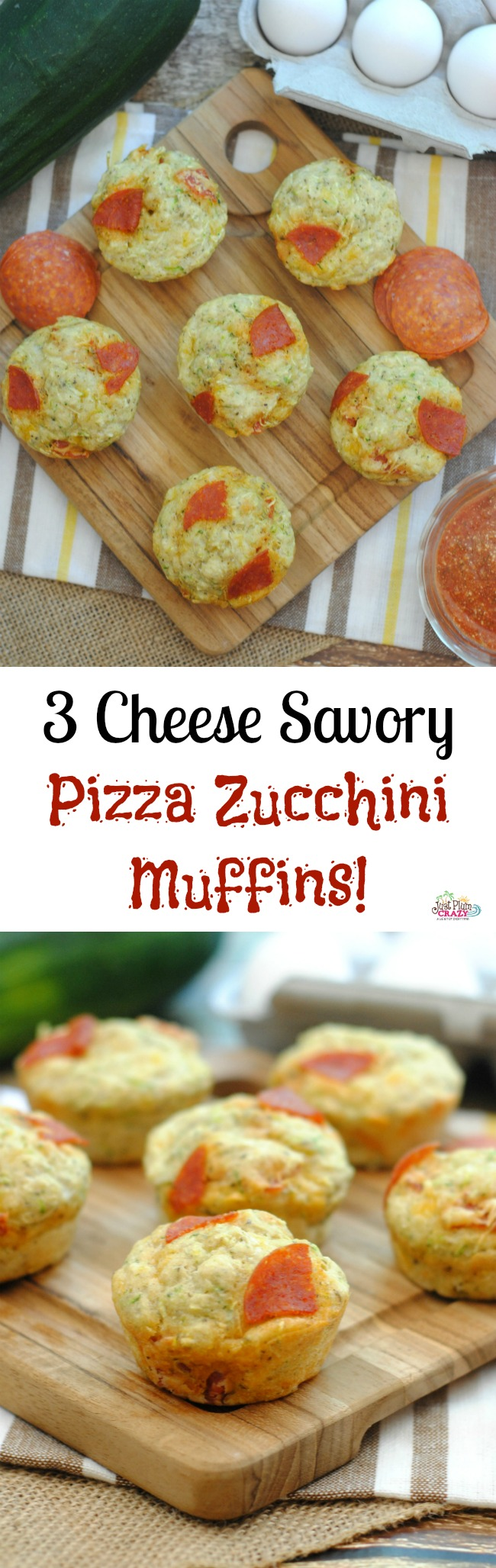 Pizza Zucchini Muffins! Just thinking about them makes my mouth water. What better way to sneak in some veggies than with with Pizza Zucchini Muffins?