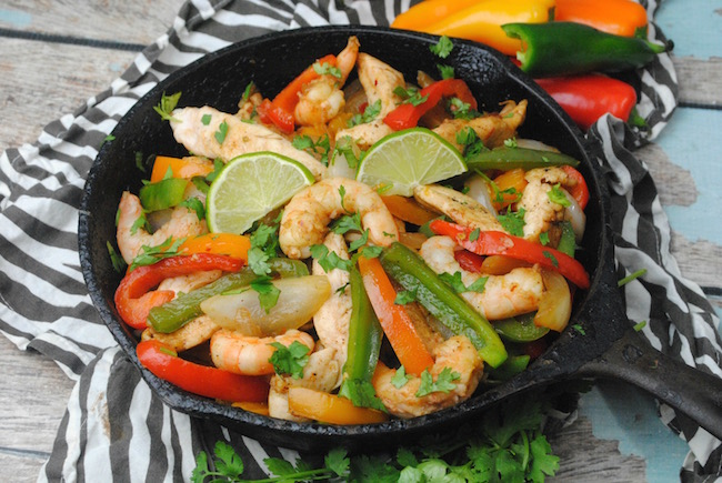 Cast Iron Skillet Shrimp and Chicken Fajitas Recipe is a recipe that will please everyone.This is the perfect dish for your Labor Day fiesta.