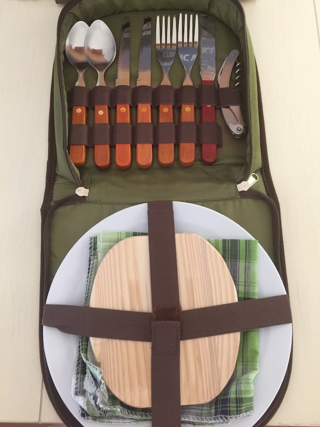 With tailgating season in full swing, the Bright Outdoors Picnic Set is perfect to take with you. Carry it in a backpack while hiking & for camping too.