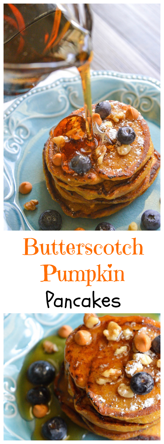 Butterscotch pumpkin pancake recipe that although is fall inspired, will definitely be a pancake recipe you will be using all year round because the family will love them.