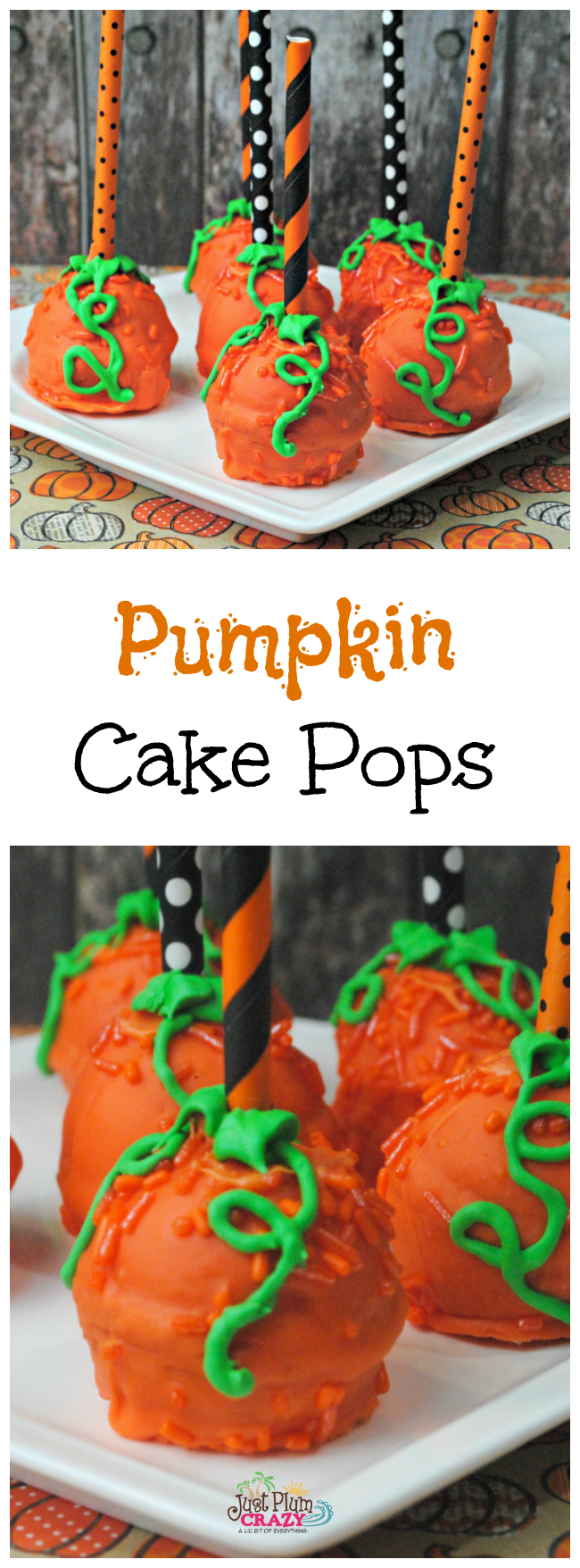 Pumpkin Cake Pops. You can make these for a Halloween party, kids party, hand out at work, let the kids take some to school, and so many other things.