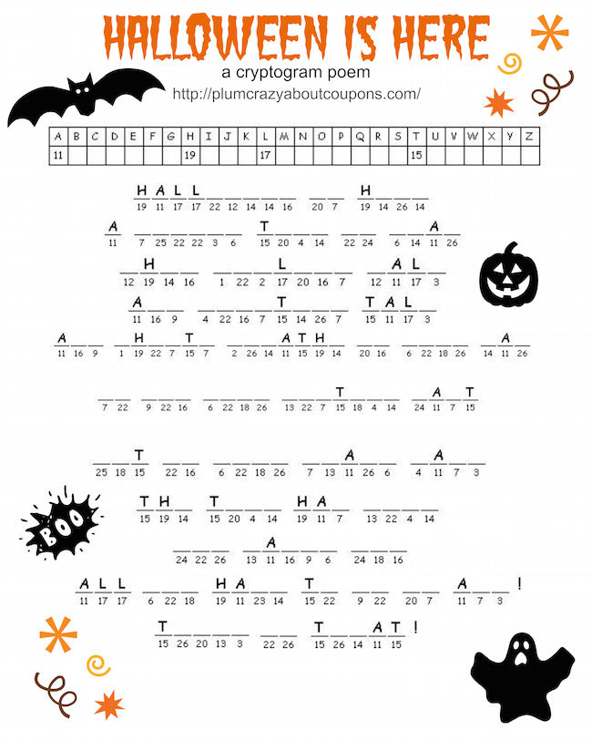 picture regarding Printable Holloween named Free of charge Printable Halloween Game titles Simply just Plum Ridiculous
