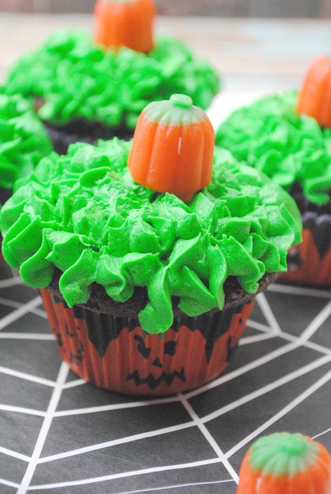 Close up shot of a pumpkin patch cupcake