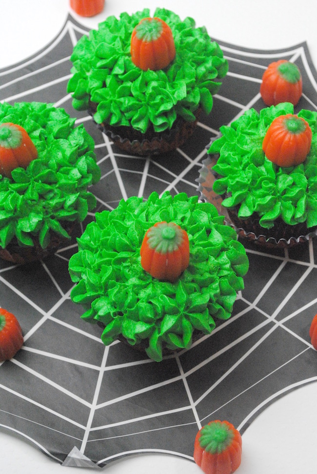 Display of pumpkin patch cupcakes