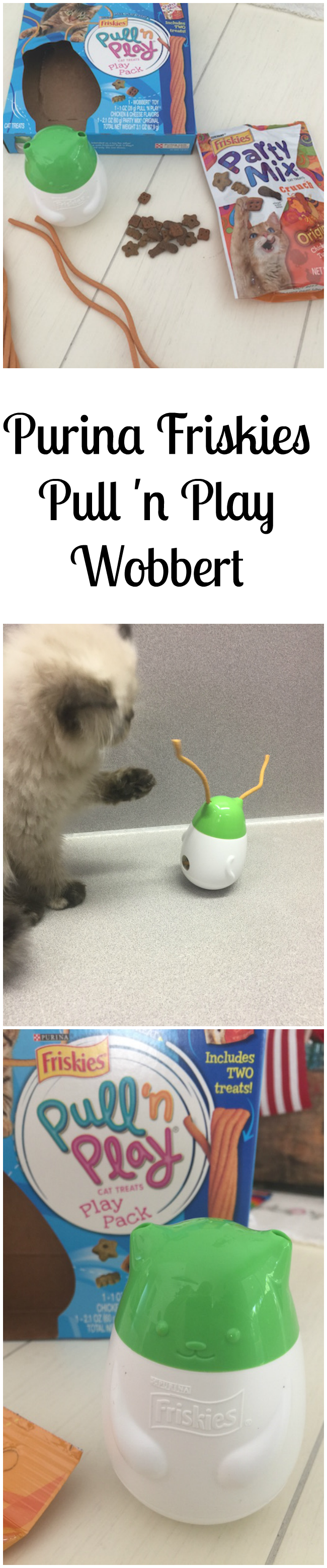 Wobbert is a wobbly cat toy that dispenses treats and tender edible strings that your cat can play with in the process. Available in 3 flavors at PetSmart!