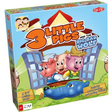 The 3 Little Pigs board game combines skill & a dash of luck. Kids will love the soft and squeezable Big, Bad Wolf that huffs & puffs the pig's houses down!