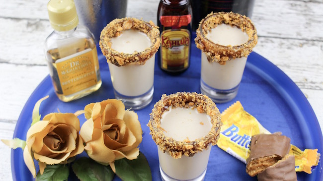 The Bailey's Irish Cream Butterfinger Shots Recipe is creamy, goes down smooth and will be yours and everyone else's favorite party drink.