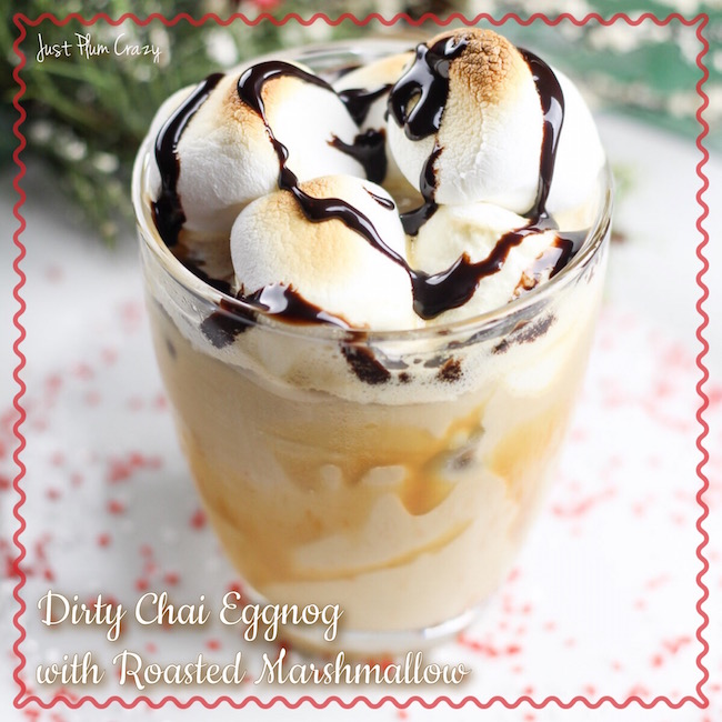 Dirty Chai Eggnog Drink With Toasted Marshmallows & Caramel