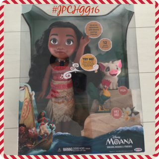 "Disney Moana is a stunning replica of her movie character, right down to the last detail. She measures 14"" and sings her signature song ""How Far I'll Go""."