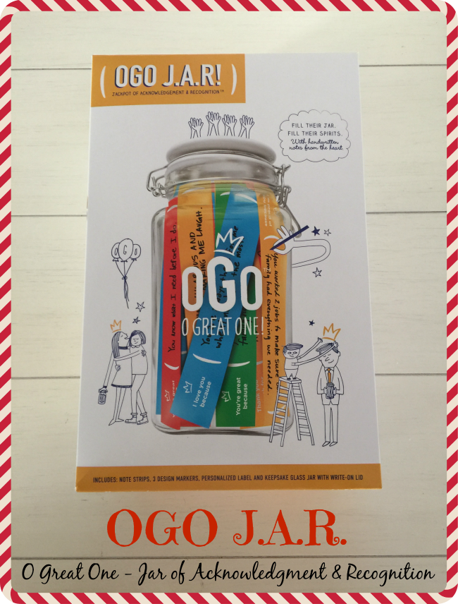 """OGO J.A.R. stands for """"O Great One"""" and J.A.R. kind of stands for jar because it is a jar, but actually means """"Jackpot of Acknowledgment and Recognition""""."""