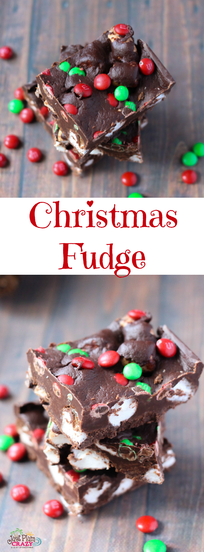 Chocolate chips, mini marshmallows & M&M holiday bits makes your Christmas Fudge recipe mouthwatering and your friends and family will love it.