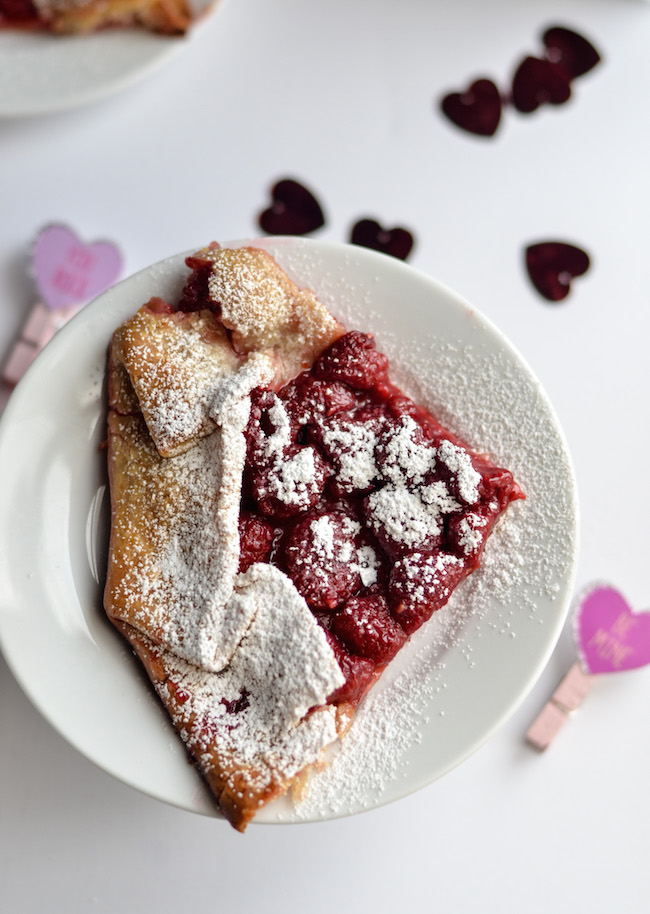 The Raspberry Galette is filled with fresh raspberries in a pre made crust and topped with confectionary sugar, it will please any palate.