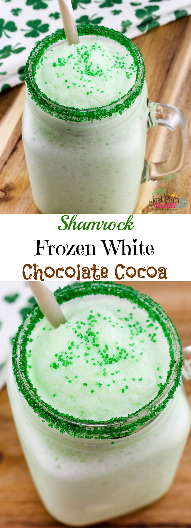 With all the St. Patrick's Day goodies that we've been sharing, I think it's time for a beverage like this Shamrock Frozen White Chocolate Cocoa Recipe.