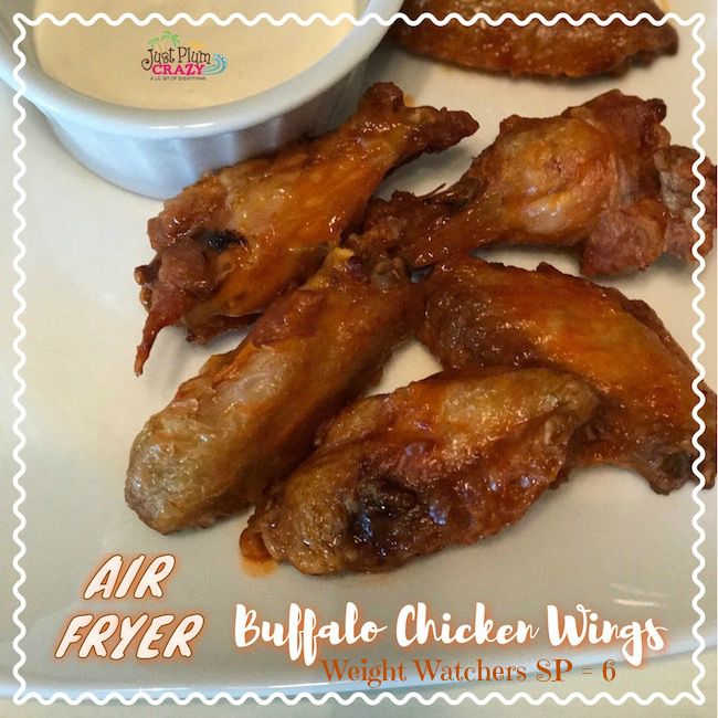 Perfect air fryer chicken wings with a buffalo flavor that is perfect for game day or snack time. Weight Watchers points included.