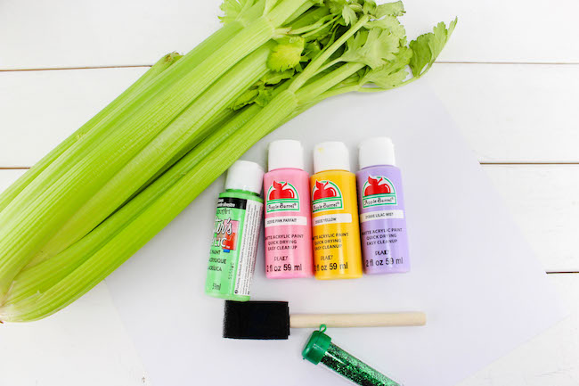 Materials needed for celery stamping craft