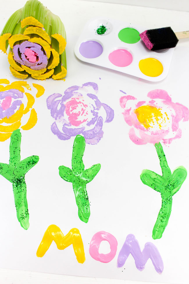 Stamping flower craft for Mother's Day