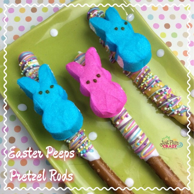 I came up with the idea for the Easter Peeps Pretzel Rods recipe while strolling through the store. Easy to make and the kids love them.