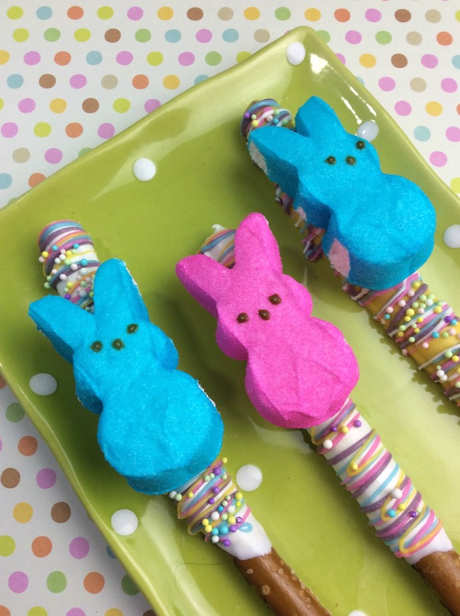 Chocolate Covered Pretzel Rods with Peeps