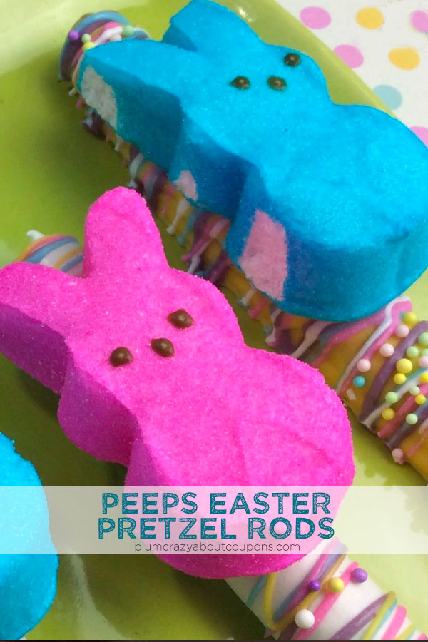 Chocolate Covered pretzels with Peeps