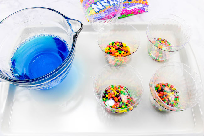 Blue Jello Cup with Fishy Beach Theme