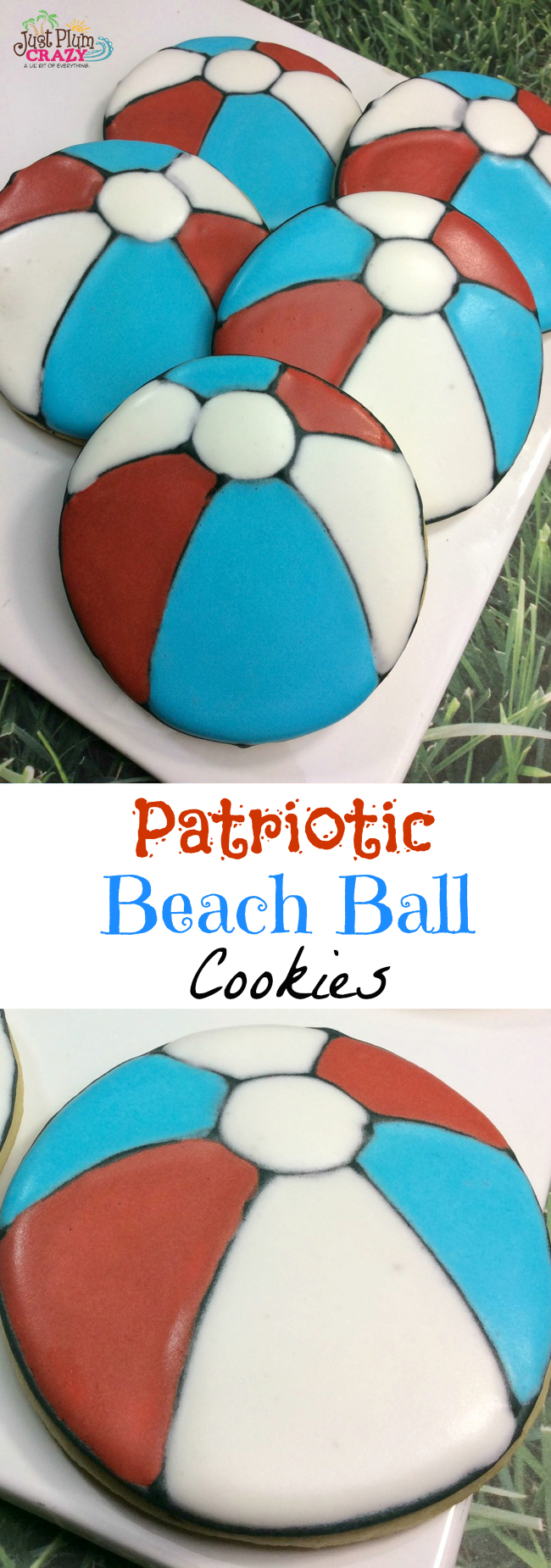 Patriotic beach ball sugar cookies in red, white and blue.