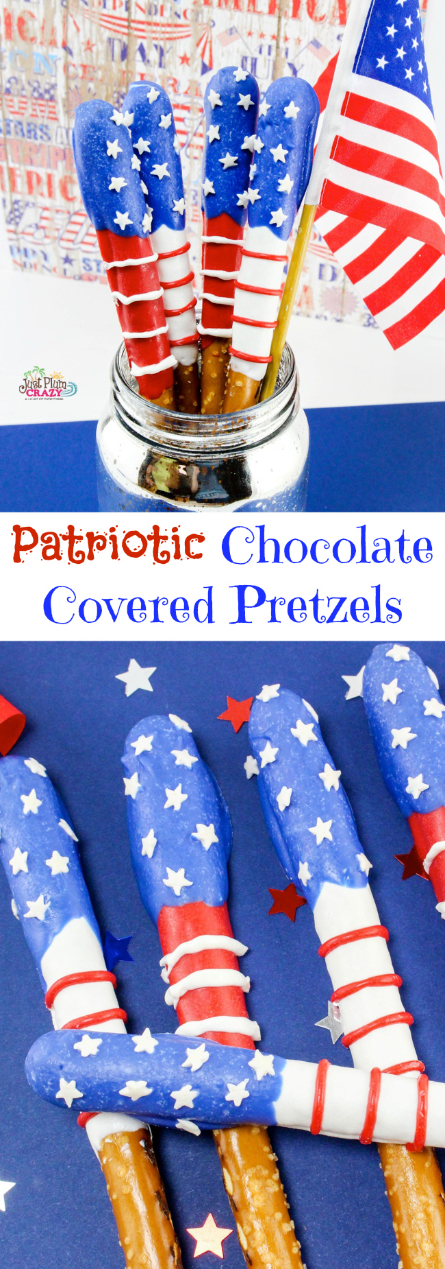 Chocolate covered pretzel recipe with a patriotic twist.