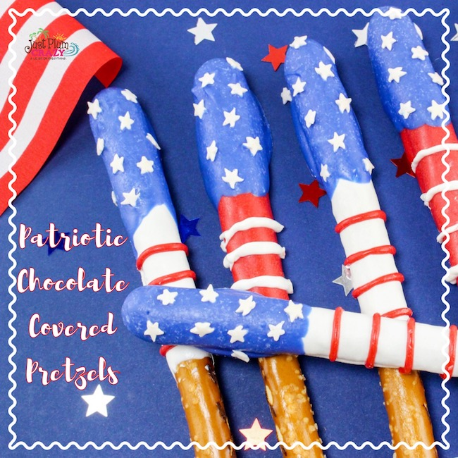 Red, white & blue Patriotic Chocolate Covered Pretzels Recipe