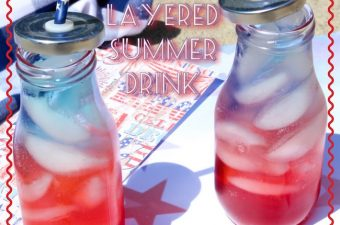 Red, white and blue patriotic layered drink