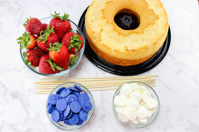 Ingredients and tools for strawberry kabobs