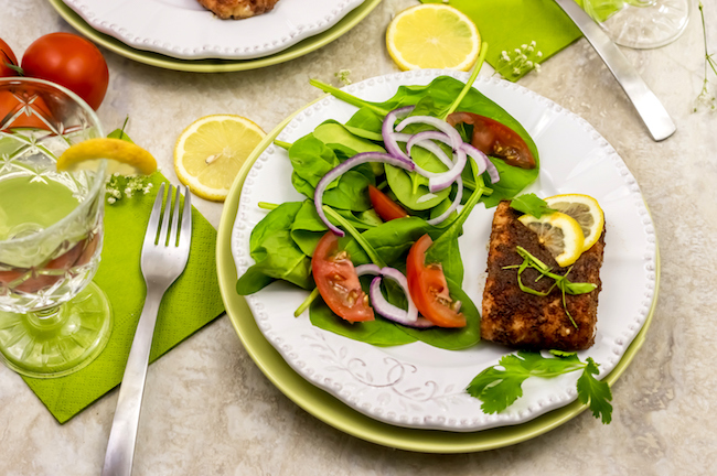 Air Fryer Salmon with Salad