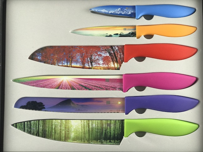 The Chef's Vision 6 Piece Color Landscape Knife Set is one of the prettiest knife sets that I've seen. Almost too pretty to use.