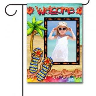 "The Welcome Photo Garden flag measures 12.5"" x18"" so it's a decent size and can be easily seen by family members as well as guests who are just visiting."