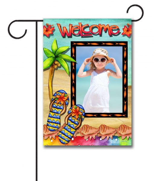 """The Welcome Photo Garden flag measures 12.5"""" x18"""" so it's a decent size and can be easily seen by family members as well as guests who are just visiting."""