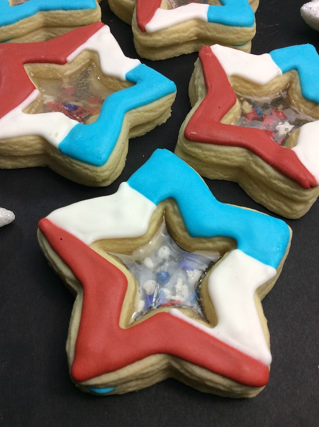Stained glass firework star cookies