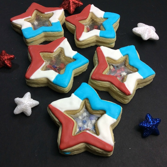 Star shaped stained glass patriotic cookie recipe