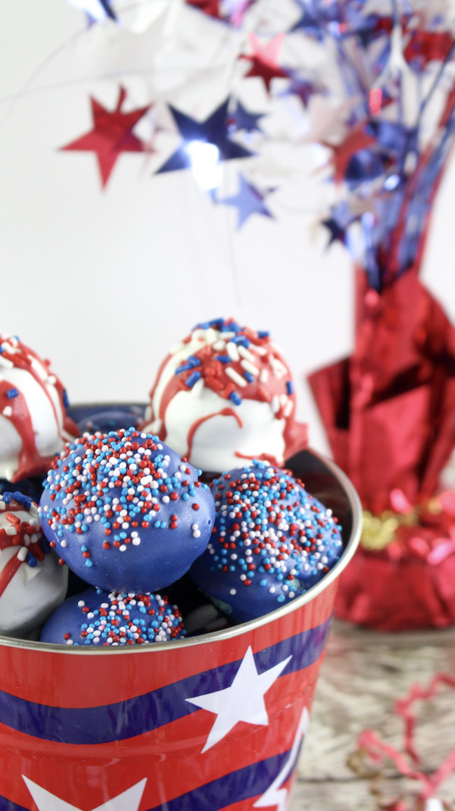 Cake batter truffles in red, white and blue.