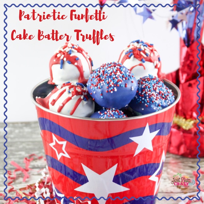 Cake batter truffles for the 4th of july