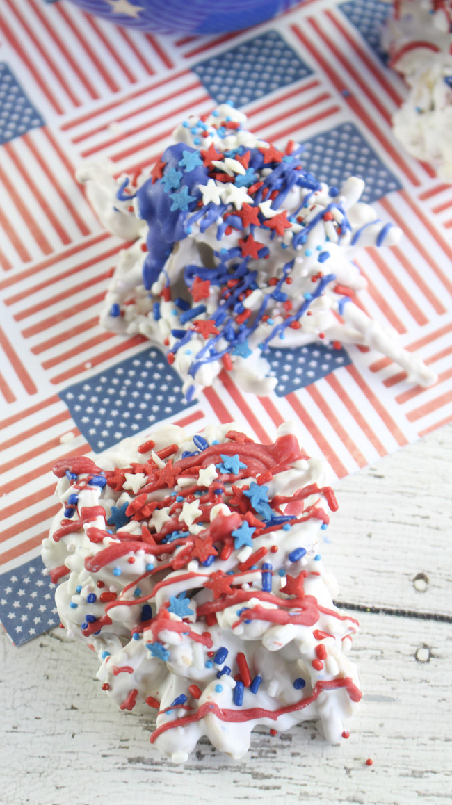 Haystack recipe in red, white and blue for July 4th.