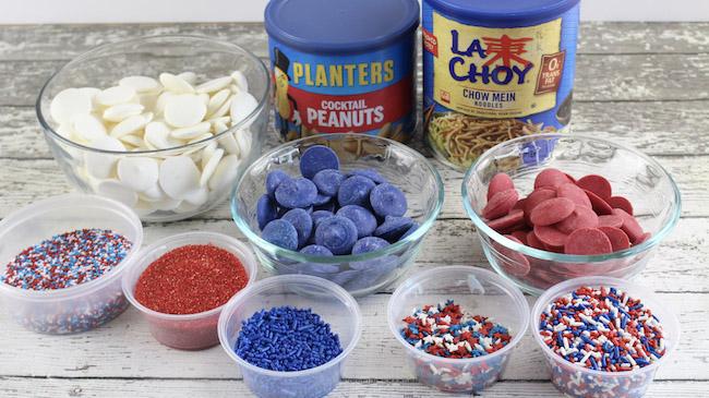 Patriotic haystack recipe ingredients.
