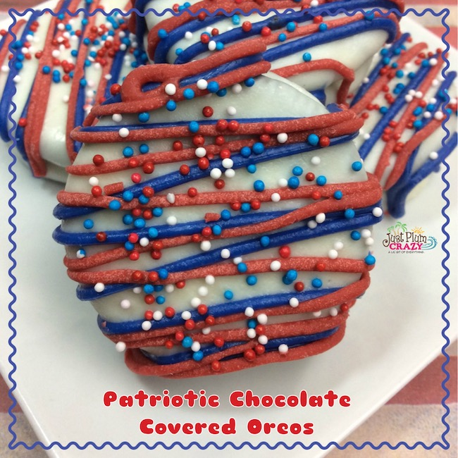 Chocolate covered Oreo cookies with a patriotic design.