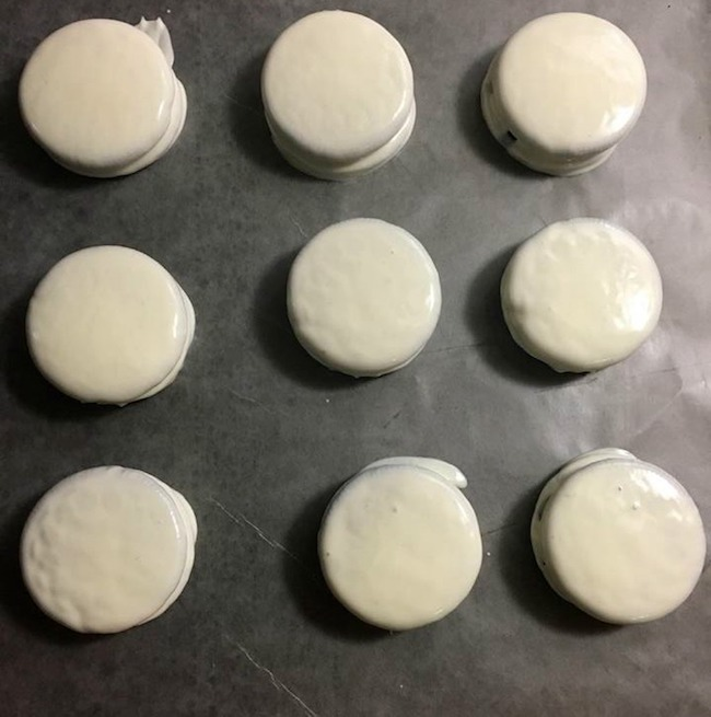 Oreos covered with white chocolate