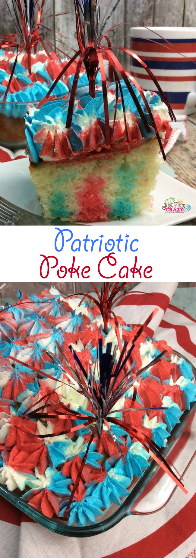 Beautiful patriotic red, white and blue poke cake filled with jello for a perfect 4th of July dessert.