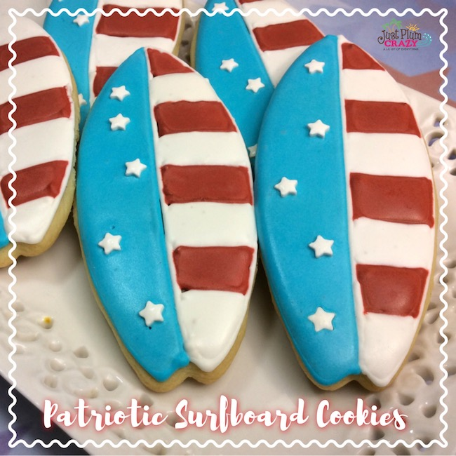 Surfboard cookie recipe in red, white and blue.