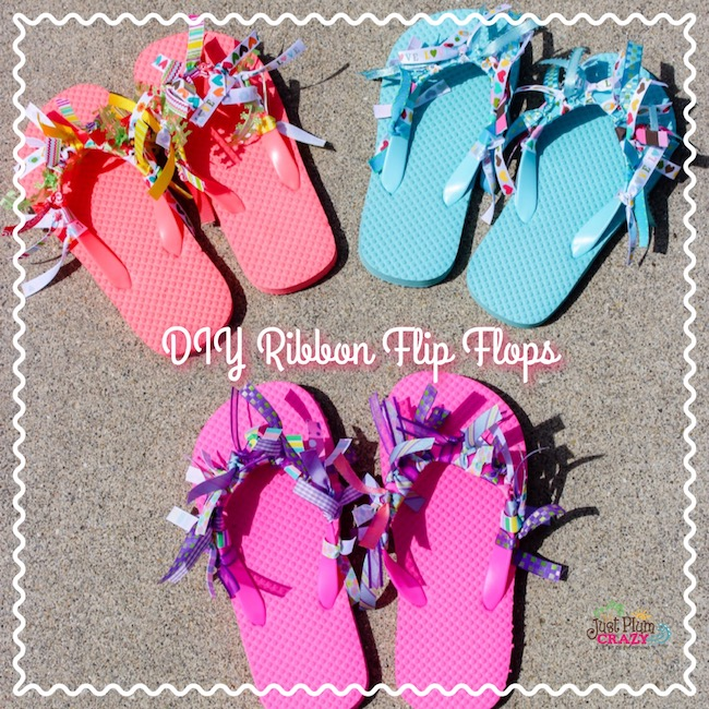 fun diy ribbon flip flops craft to kick off summer. Black Bedroom Furniture Sets. Home Design Ideas