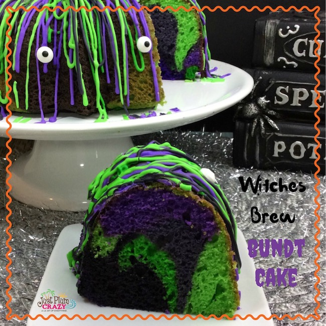 The Witches Brew Halloween Bundt Cake Recipe fits right in with that with the colors of Halloween baked right in to the cake.