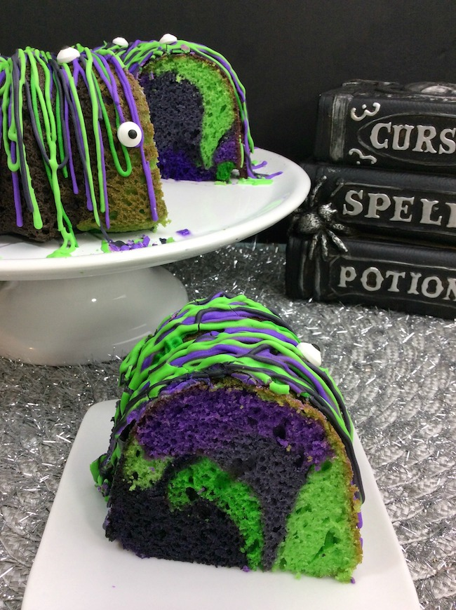 TheWitches Brew Halloween Bundt Cake Recipe fits right in with that with the colors of Halloween baked right in to the cake.