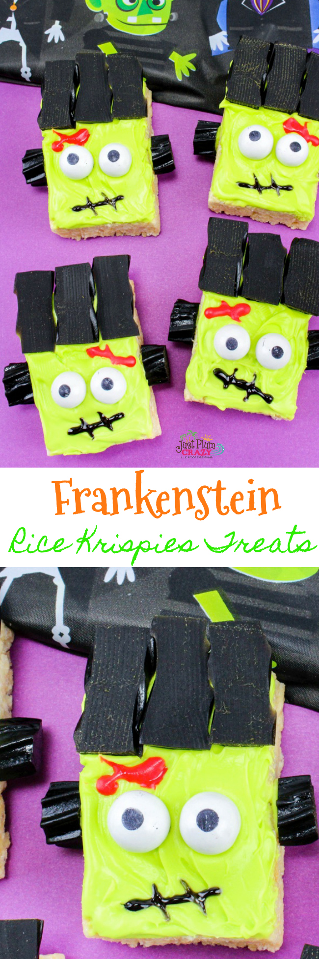 Who doesn't love a good scary treat! The Frankenstein Rice Krispies Treats is perfect for any party whether it's at home, at school, or at the office.