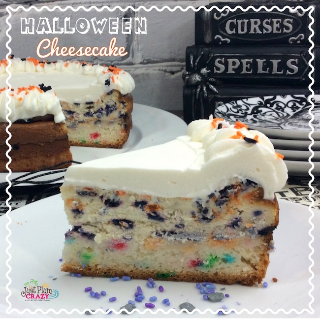 The great thing about the Halloween Cheesecake Recipe is that you can switch up the funfetti colors for Christmas or any other holiday that you'd like. Yum!