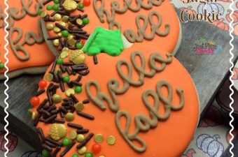 Adorable pumpkin shaped harvest sugar cookie.