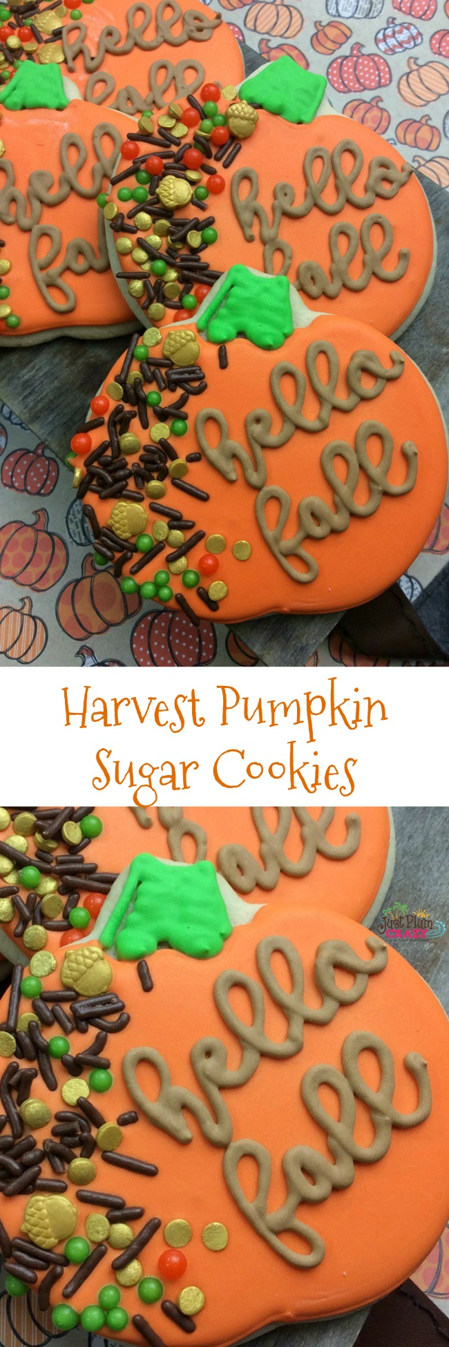 Beautifully decorated pumpkin shaped sugar cookies that will make an impact on the dessert table!